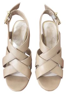 Jessica Simpson Leather Nude Wedges