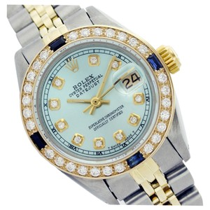 Rolex WOMENS ROLEX DATEJUST ICE BLUE DIAMOND & SAPPHIRE TWO TONE WATCH