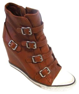 Ash Leather High Tops Fashion Sneakers Casual Tan Wedges
