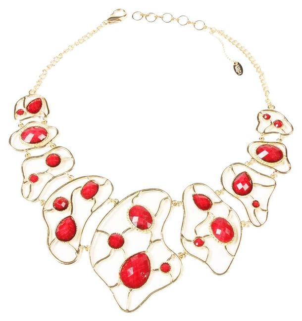 Item - Gold Pearl And Faceted Ruby Stone Large Bib New Necklace