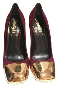 Saint Laurent Burgundy & Gold Pumps