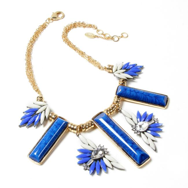 Item - Blue White Statement Flowers Tiles Gold Chains Bib New Necklace