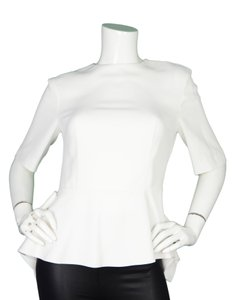 Miu Miu Peplum Short Sleeve Top White