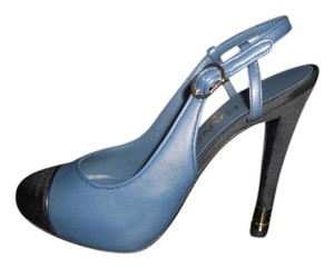 Chanel Pumps Platform Slingback Metal Heel Dark Teal/Black Sandals