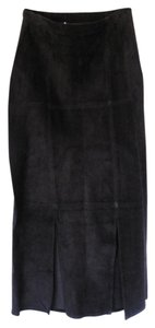 Double D Ranchwear Straight Front Kick Pleat Maxi Skirt Black suede