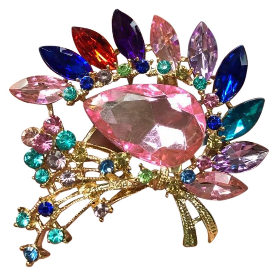Multicolor Stone Vintage Brooch High End Brooches