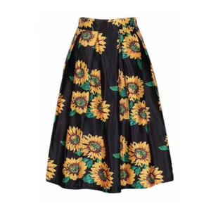 Other Skirt Black & Yellow Sunflower