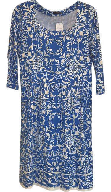 Item - Blue and White Short Work/Office Dress Size 12 (L)