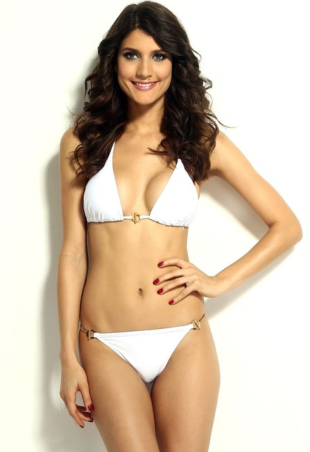 OTHER Free Shipping New's White Hardware Push-up Top Low Rise Panty Bikini Set Item No. : Lc40672-1 Size:S