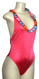 Le FOGLIE ONE PIECE SWIMSUIT CORAL XL OPEN BACK DECOR TRIM, MADE IN ITALY