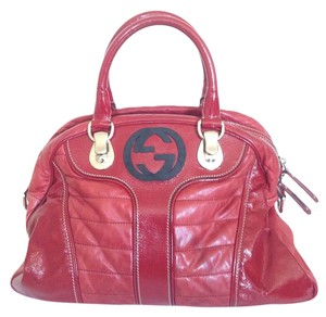 Gucci Leather Patent Leather Tote in Red