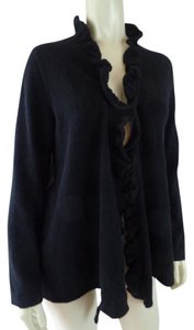 Jones New York Cashmere Collection Open Front Ruffle Edge Ny Sweater