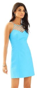 Lilly Pulitzer short dress blue and gold on Tradesy