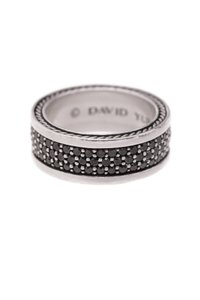 David Yurman David Yurman Sterling Silver Black Diamond Three-Row Band Ring