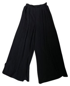St. John Palazzo Silk Trousers Wide Leg Pants Black