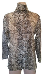 Dolce&Gabbana Dolce & Gabbana Long Sleeve Snake Silk Top Camel and Black Animal Print