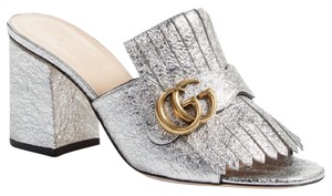 Gucci Marmont Peep Toe Marmont silver Mules