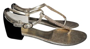 Chanel Flat Thong T Srap Beaded Gold/Black Sandals