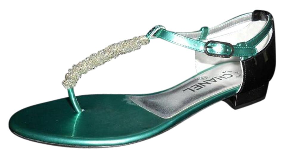 34898b89474d5a Chanel Green Black Beaded Thong Ankle T Strap Patent Leather Flat 38.5  Sandals