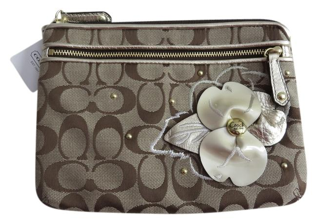 Item - Gold Khaki Beige White Pink Jacquard Signature and Flower Applique Large Chubby Purse Cosmetic Bag