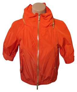 Michael Kors Short Sleeved Gold Zipper/hood Xs - Size 2 Orange Jacket