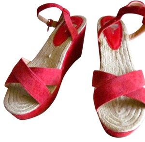 Kimchi Blue Ankle Strap 3 Inch Strappy Red Red Suede Wedges