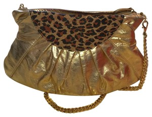Other gold and leopard, pink interior Clutch