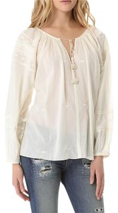 Love Sam Bohemian Gauze Long Sleeve Peasant Clothing Top Ivory