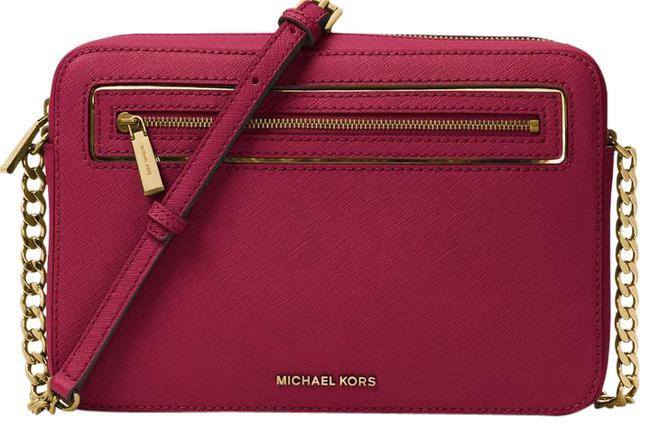 Item - Jet Set Frame Out Large Cherry Leather Cross Body Bag