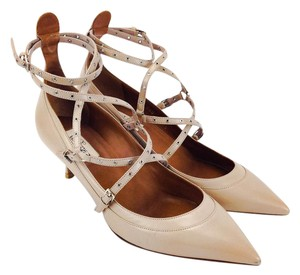 Valentino Eyelet Strappy Pointy Toe Kitten Leather Nude Pumps