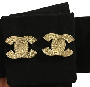 Chanel large chanel CC crystal earrings