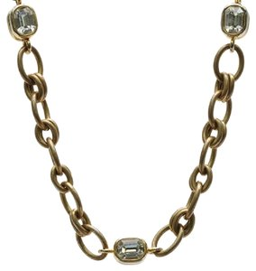 Chanel Chanel Vintage Gold-Tone Crystal Station Chain Necklace