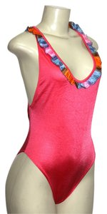 Le FOGLIE ONE PIECE SWIMSUIT CORAL SMALL OPEN BACK DECOR TRIM, MADE IN ITALY