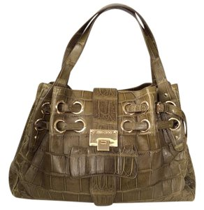 Jimmy Choo Alligator Crocodile Skin Exotic Tote in Green