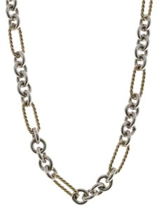 David Yurman David Yurman Sterling Silver & 18K Gold Figaro Chain Toggle Necklace