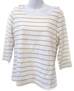 Chico's Striped Lace 3/4 Sleeve Scoop Neck Casual Tunic