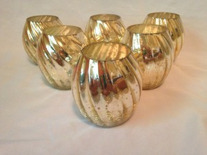 Gold Mercury Votive Sized Candle Holders