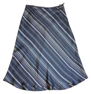 The Limited Striped Silk Church Business Skirt BLACK