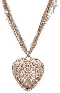 Chanel Chanel Gold-Tone Multi-Chain Pearl Heart Pendant Necklace