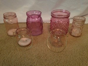 Various Pink Votive Candle Holders