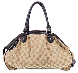 Gucci Canvas Leather Signature Boston Satchel in Brown and Beige