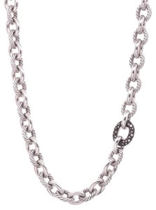 David Yurman David Yurman Silver Diamond Midnight Melange Oval Link Necklace