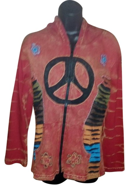 Item - Washed Red Retro Peace Sign Hoody New Nepal Large Sweatshirt/Hoodie Size 12 (L)