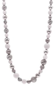 David Yurman David Yurman Sterling Silver & White Agate Elements Bead Necklace