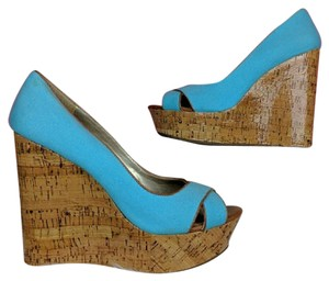 Jessica Simpson Blue Brown Wedges