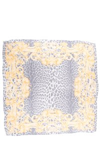 Escada Grey & Yellow Silk Scarf With Leopard Print