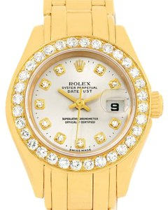 Rolex Rolex Pearlmaster Yellow Gold Diamond Dial Bezel Ladies Watch 69298