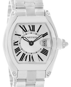 Cartier Cartier Roadster Silver Dial Black Strap Ladies Steel Watch W62016V3