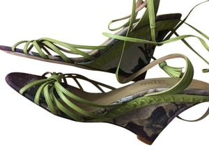 Valentino Stitching Ankle Wrap Ankle Tie Summer lime green Sandals