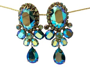 Other Rare Vendome Vintage 1950 Blue And Green Crystal Drop Earrings